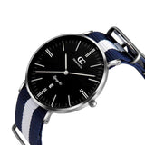 40mm Liberty TL14027 Black White Navy Blue Silver Nato Nylon Band Strap Men's Watch