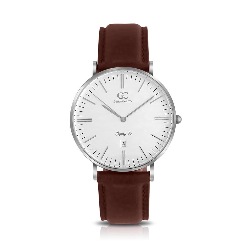 40mm Ludlow TL14009 White Silver Dark Brown Leather Men's Watch