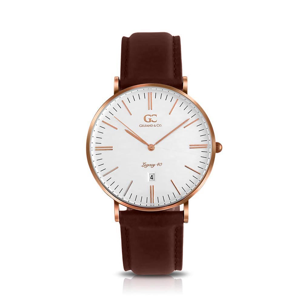 40mm Ludlow TL14010 White Rose Gold Dark Brown Leather Men's Watch