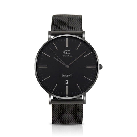 40mm Monroe TL14034 Black Black Black Mesh Strap Men's Watch