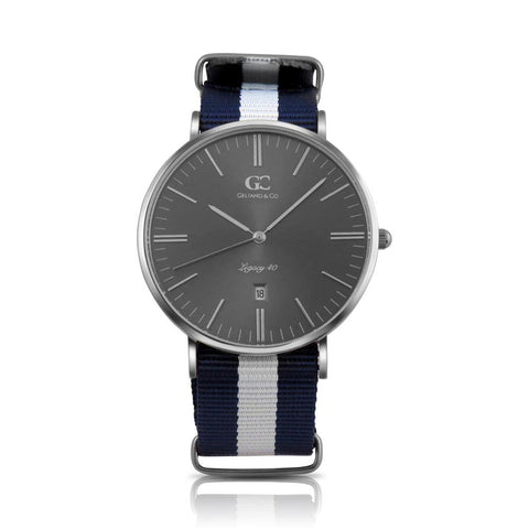 40mm Moore TL14042 Grey Metallic Silver White Navy Blue Nylon Nato Band Strap Men's Watch
