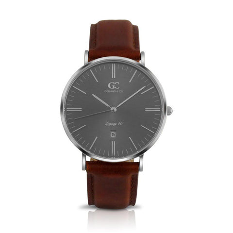 40mm Remsen TL14038 Grey Metallic Silver Brown Leather Strap Men's Watch