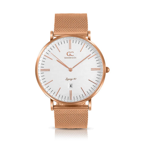 40mm Rivington TL14014 White Rose Gold Mesh Band Men's Watch