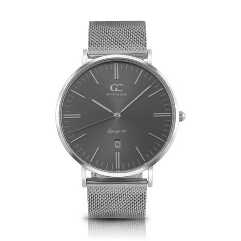 40mm Steinway TL14040 Grey Metallic Silver Mesh Strap Men's Watch