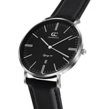 40mm Webster TL14019 Black Silver Black Leather Strap Men's Watch
