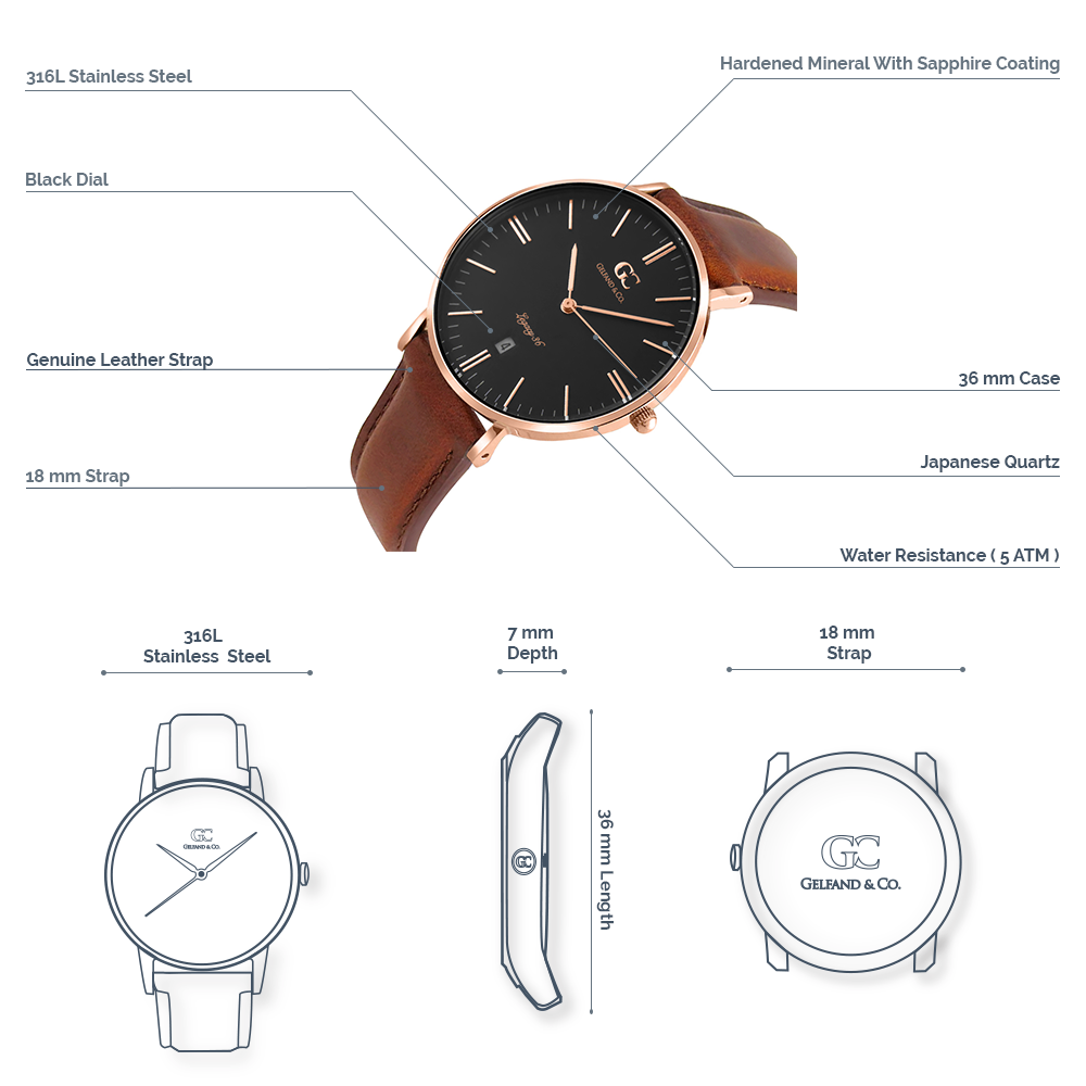 Brown Leather Watch Rose Gold