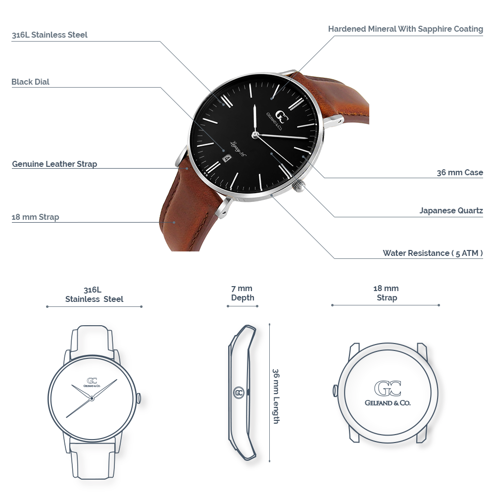 Brown Leather Watch Silver Rose Gold