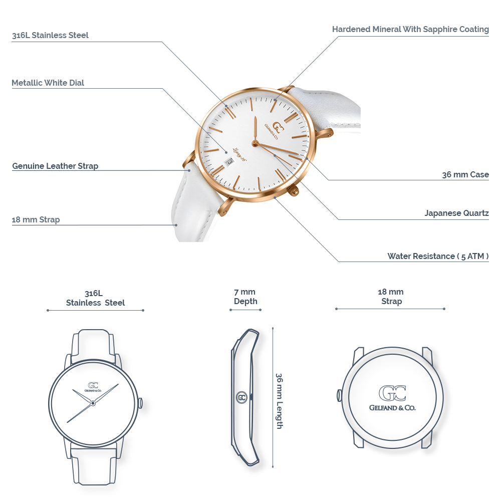 White Leather Watch Rose Gold