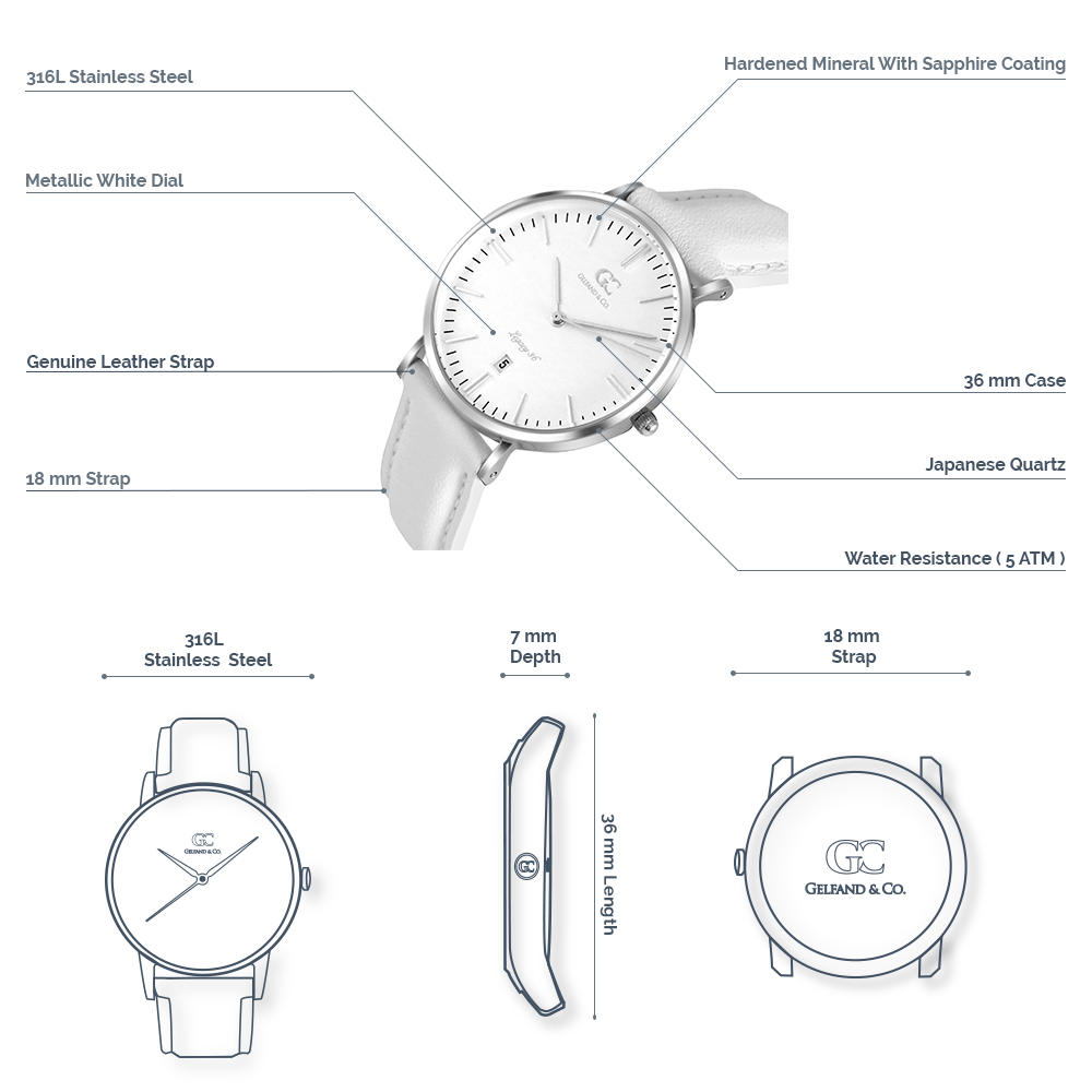 Women's White Leather Watch