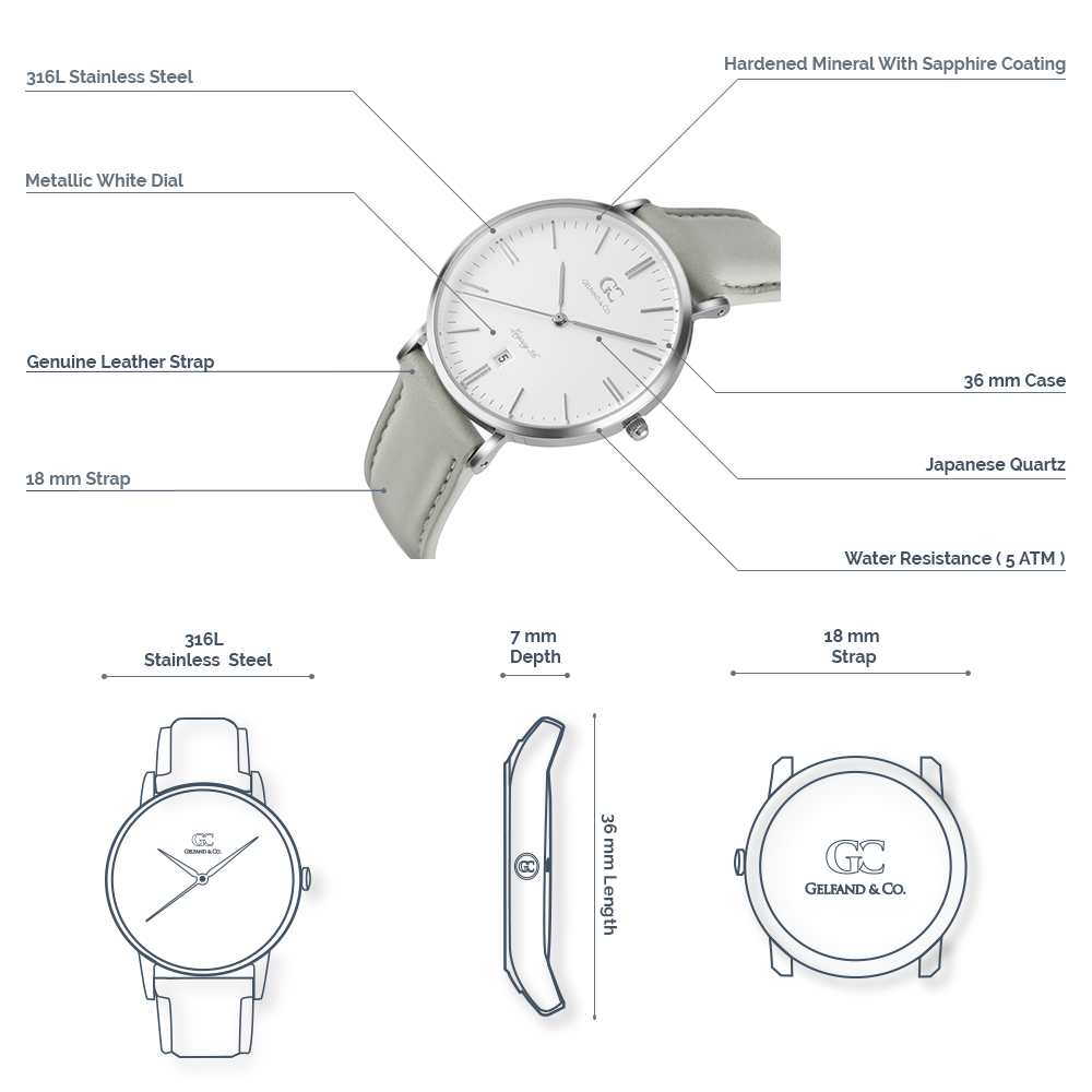 Gray Leather Watch 36mm