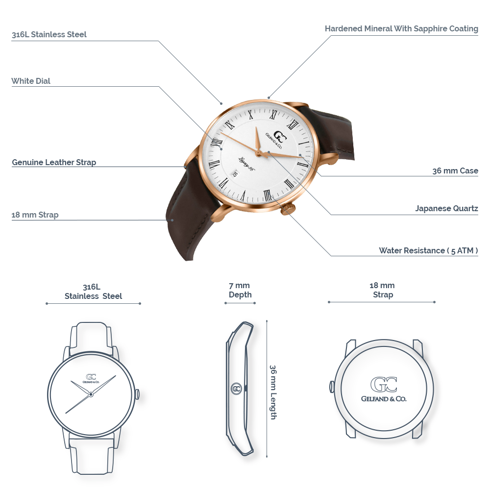 Rose Gold Brown Leather Watch