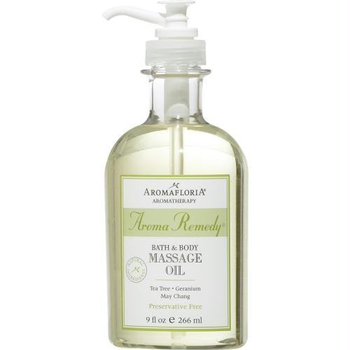 Aroma Remedy Bath & Body Massage Oil 9 Oz Blend Of Tea Tree, Geranium, And May Chang (preservative Free) By Aromafloria