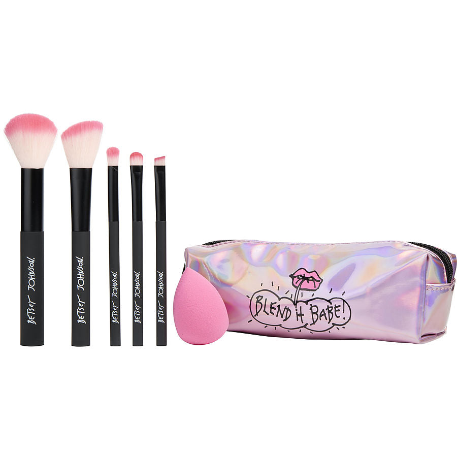 Betsey Johnson 6 Pc Brush Set Includes 5 Brushes And Beauty Blender Sponge And Sponge Come In A Chic Cosmetic Bag By Betsey Johnson