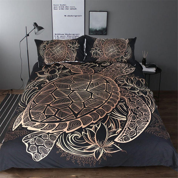 Black And Gold Turtle Duvet Cover Pillowcases Set 3 Piece My
