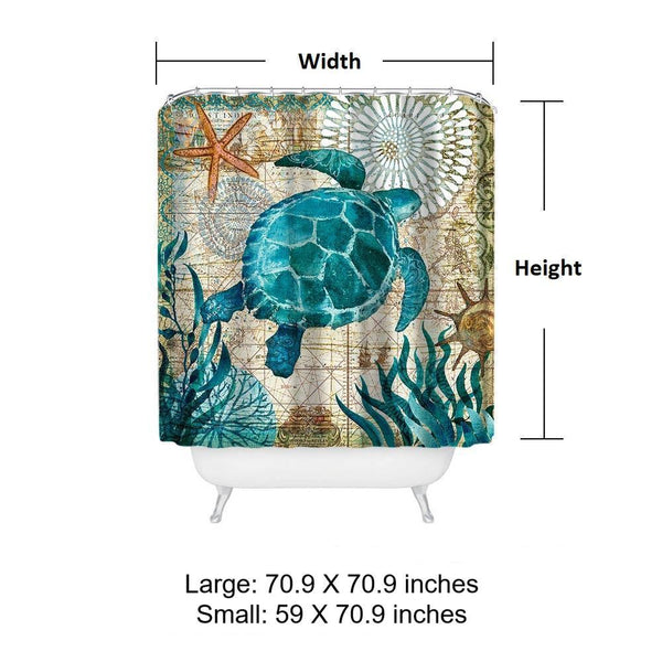 Wonderful Sea Life Shower Curtain - My Turtle And I IR72