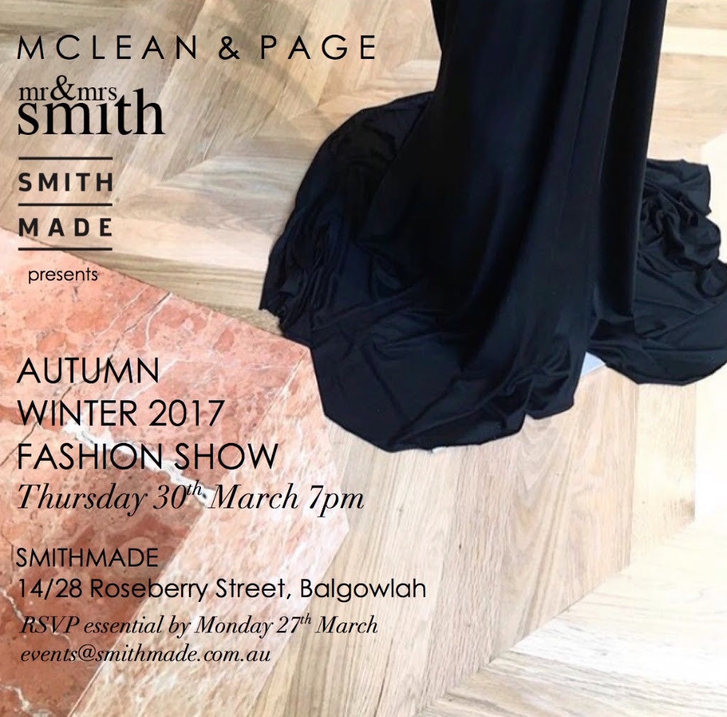 Mr & Mrs Smith + McLean & Page Autumn Winter Fashion Show