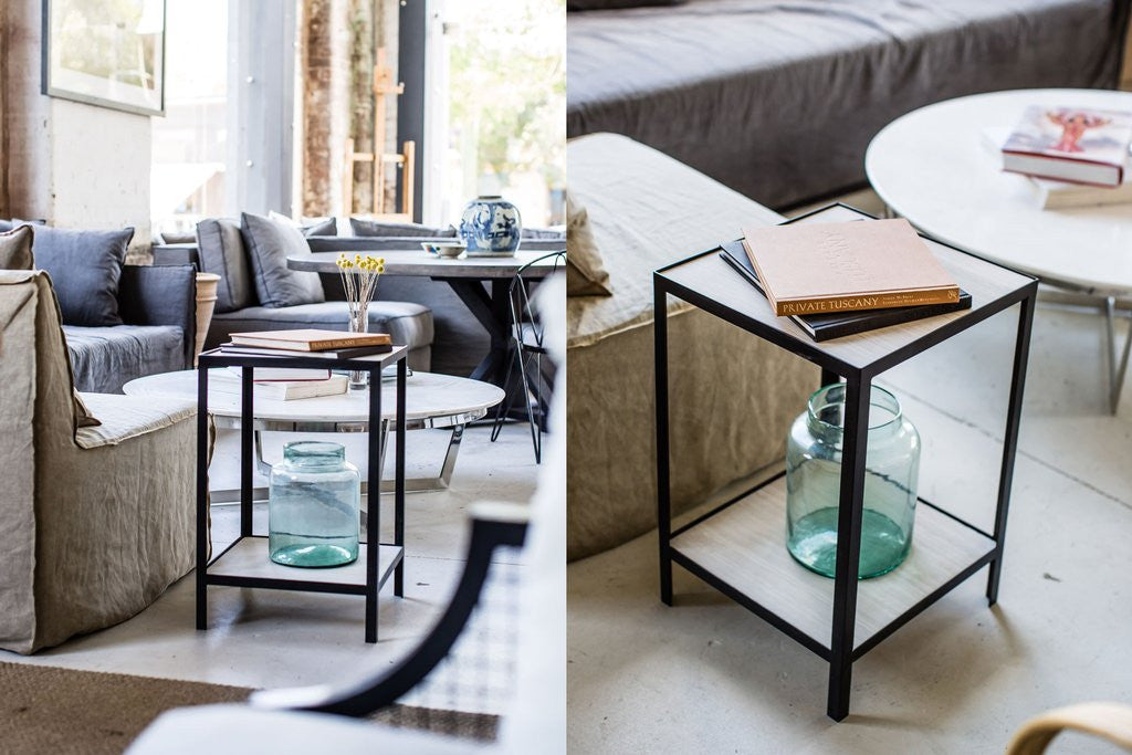 Cocktail Side Table Metal with White Marble Shelves
