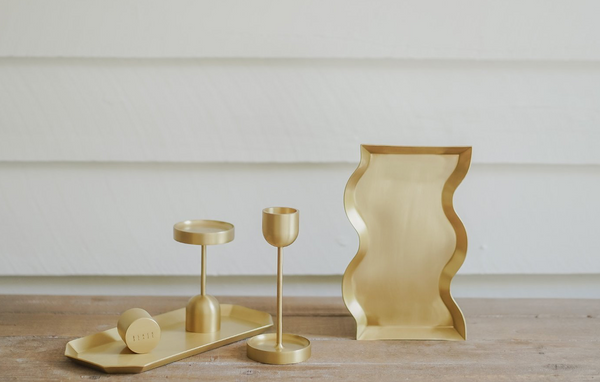 Wave Brass Candle Tray