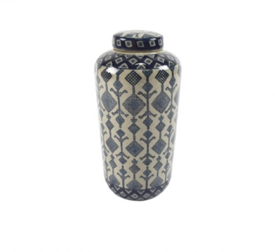 Tall Jar Blue Aztec Pattern
