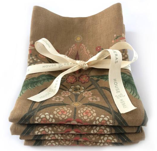 """Bush Bouquet"" Linen Napkins Set of 4"