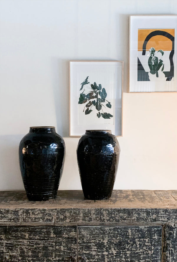 Black Glazed Ceramic Pot