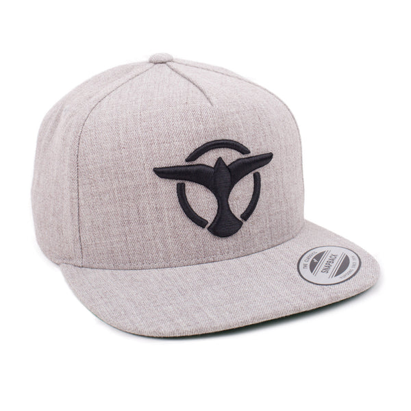 'Bird' Logo Snapback - Heather Grey/Black