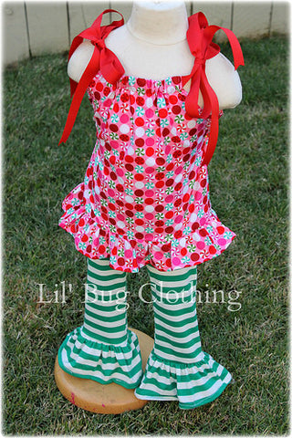 Green White Stripes Ruffled Leggings &  Christmas Candy Top