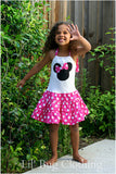 Hot Pink Polka Dot Tiered Minnie Mouse Halter Dress