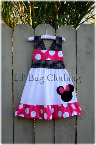Hot Pink Jumbo Dot Minnie Mouse Jumper Dress Halter Style