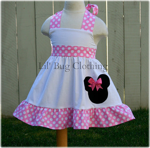 Bubble Gum Pink & White Minnie Mouse Jumper Dress Halter Style