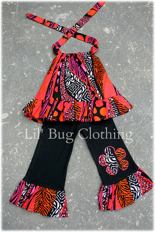 Funky Orange & Black Leopard Zebra Halter Top & Pant