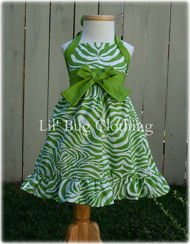 Lime Zebra Jumper Dress Halter Style