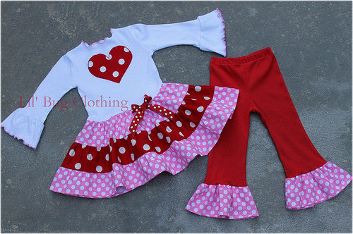 Valentines Day Pink Red Polka Dot Heart Tiered Top And Leggings