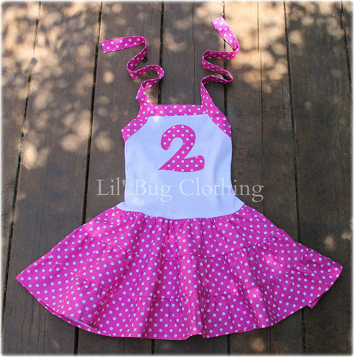 Hot Pink & White Polka Dot Personalized Tiered Birthday Girl Dre