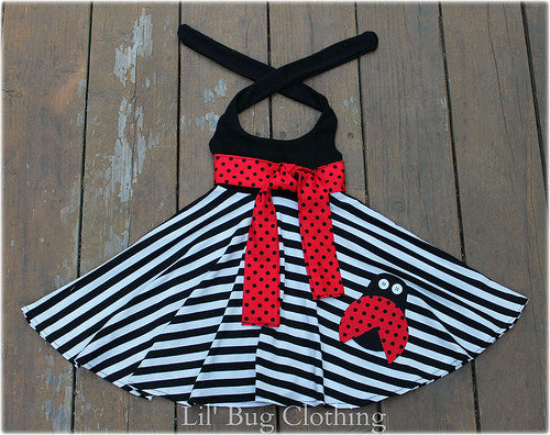 Ladybug Black White Stripe Comfy Knit Dress