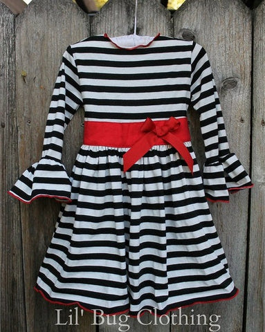 Black White Stripe Red Sash & Bow Comfy Knit Dress