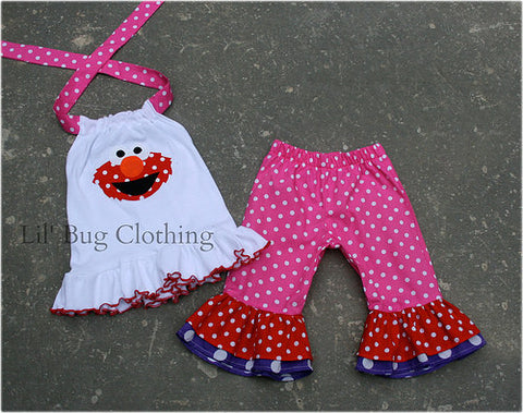Elmo Polka Dot  Capri And Halter Top