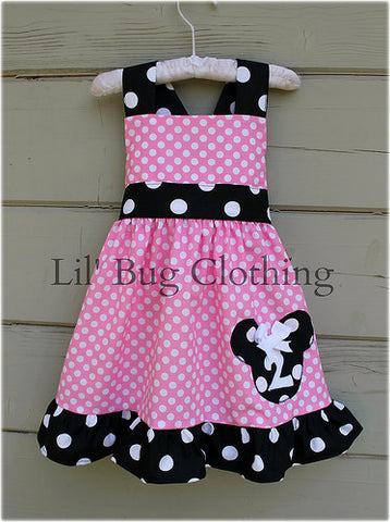 Bubble Gum Pink Minnie Mouse Personalized Jumper Dress