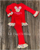 Personalized Christmas Minnie Mouse Outfit