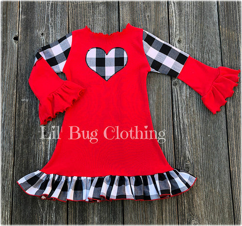 Black White Gingham Valentines Day Dress