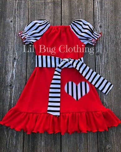 Black White Stripe Valentines Day Peasant Dress