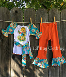 Big Eyed Girl Vintage Damask Outfit