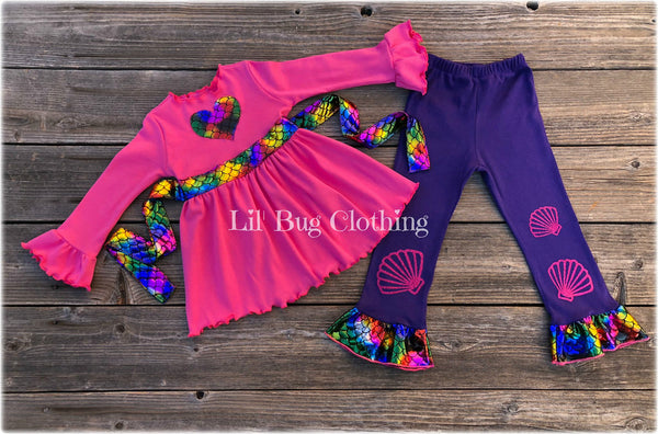 Rainbow Mermaid Top & Ruffled Leggings Outfit