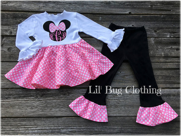 Bubble Gum Pink White Polka Dot Minnie Mouse Tiered Dress & Leggings