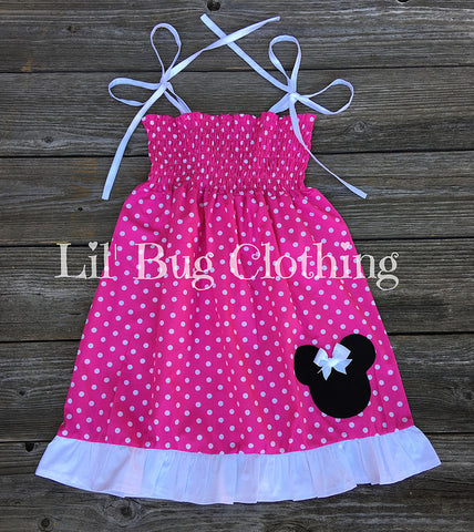 Hot Pink & White Smocked Minnie Mouse Dress