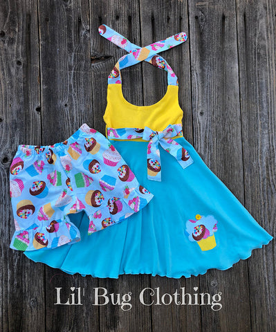 Cupcake Girl Summer Birthday Outfit