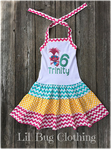 Poppy Troll Personalized Birthday Dress