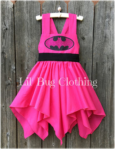 Hot Pink & Black Batgirl Handkerchief Dress