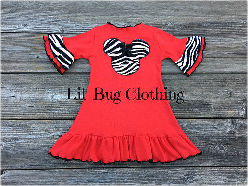 Minnie Mouse Red Knit Zebra  Dress