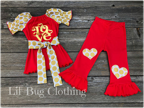 Gold & Red Love Valentines Day Outfit